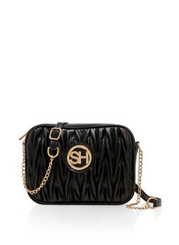 Ruched Faux Leather Crossbody Bag - 3124071751211