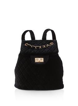 Quilted Velvet Backpack - BLACK - 3124071756011
