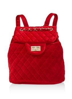 Quilted Velvet Backpack - RED - 3124071756011