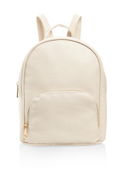 Textured Faux Leather Backpack - BONE - 3124071756012