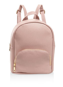 Textured Faux Leather Backpack - MAUVE - 3124071756012