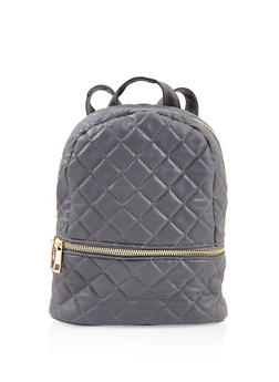 Small Quilted Double Zip Backpack - GRAY - 3124071756013