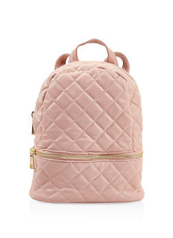 Small Quilted Double Zip Backpack - BLUSH - 3124071756013