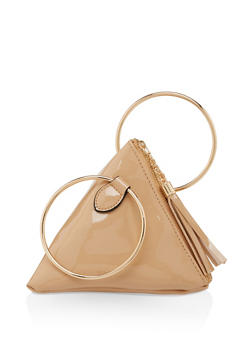 Faux Patent Leather Pyramid Wristlet - Beige - 3124071757433