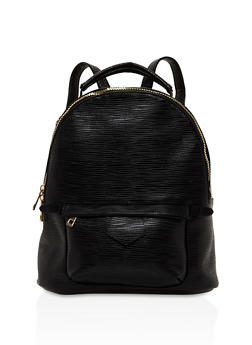 Textured Zip Backpack - BLACK - 3124073330926