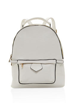 Textured Zip Backpack - WHITE - 3124073330926