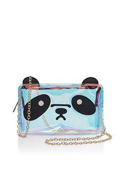 Iridescent Panda Graphic Crossbody Bag - 3124073401209