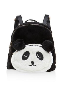 Faux Fur Panda Backpack - 3124073401433