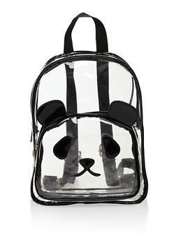 Clear Faux Leather Trim Panda Backpack - 3124073401614