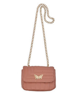 Butterfly Detail Quilted Crossbody Bag - 3124073402011