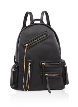 Multi Zip Faux Leather Backpack - BLACK - 3124073402027