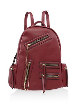 Multi Zip Faux Leather Backpack - RED - 3124073402027