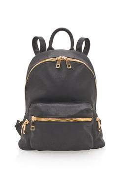Textured Faux Leather Backpack - BLACK - 3124073406060