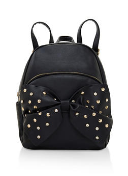Rhinestone Studded Bow Backpack - 3124073407202