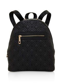 Quilted Faux Leather Backpack - 3124073407225