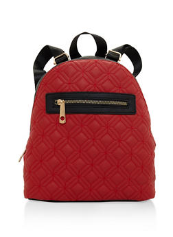 Quilted Faux Leather Backpack - RED - 3124073407225