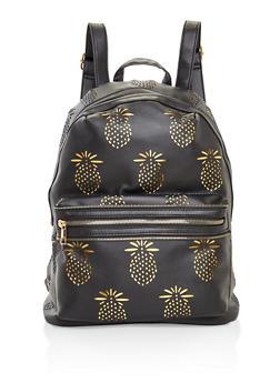 Pineapple Laser Cut Backpack - BLACK - 3124073407233