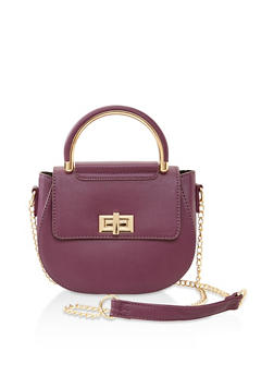 Faux Leather Saddle Crossbody Bag - 3124073407293