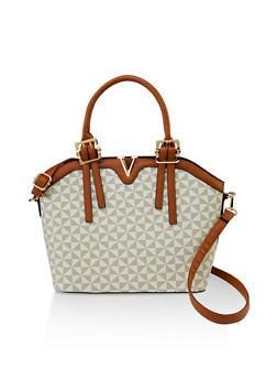 Printed Faux Leather Crossbody Handbag - 3124073892111