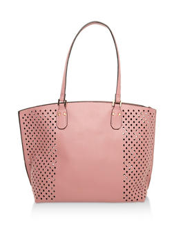 Faux Leather Perforated Tote Bag - 3124073892172
