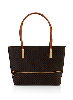 Printed Textured Faux Leather Tote Bag - 3124073892498