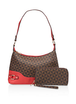 Geometric Print Bag and Wallet - 3124073892822