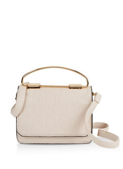 Small Embossed Crossbody Satchel - 3124073893117