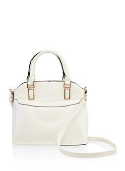 Metallic Detail Faux Leather Handbag - 3124073895075