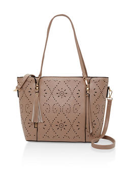 Perforated Faux Leather Tote Bag - 3124073895602