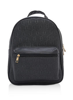 Faux Saffiano Leather Backpack - 3124073895638
