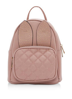 Faux Leather Backpack with Studded Bunny Ears - 3124073895649