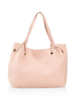 Pebbled Faux Leather Tote Bag - 3124073895747