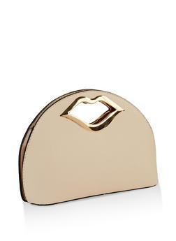 Metallic Lip Handle Clutch - 3124073896006