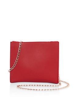 Faux Leather Crossbody Bag - 3124073896043