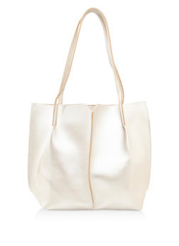 Stitched Faux Leather Tote Bag - 3124073896126