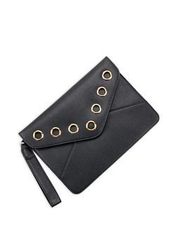Faux Leather Grommet Envelope Clutch - 3124073896155
