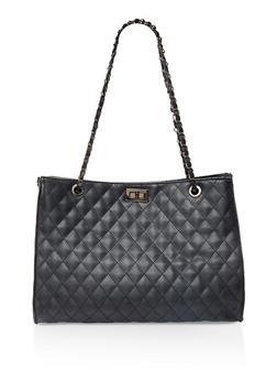 Large Quilted Tote Bag - 3124073896165