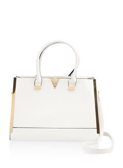 Metallic Detail Faux Leather Satchel - 3124073896167