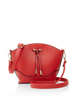 Faux Saffiano Leather Crossbody Bucket Bag - 3124073896225