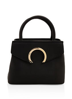 Faux Textured Leather Handbag - 3124073896246