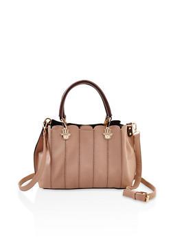 Faux Textured Leather Scallop Trim Handbag - 3124073896249