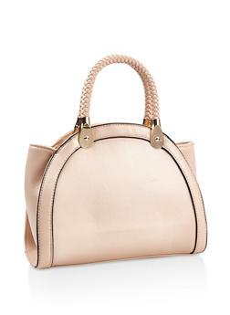 Braided Faux Leather Handle Handbag - 3124073896260