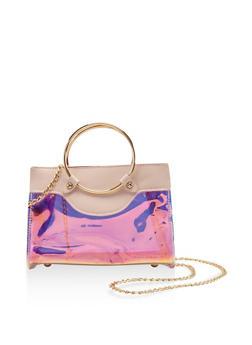 Iridescent Metallic Handle Crossbody Bag - 3124073896277
