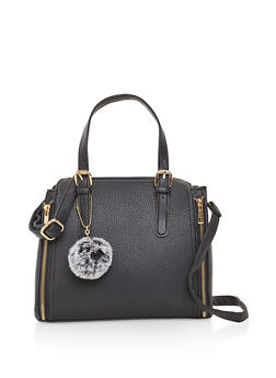 Side Zip Faux Leather Satchel - 3124073896280