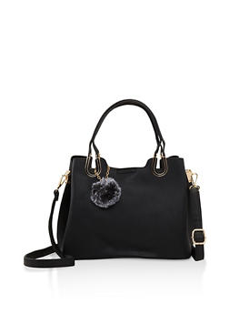 Faux Leather Handbag with Pom Pom Keychain - 3124073896400