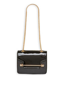 Faux Patent Leather Crossbody Bag - 3124073896422