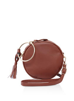 Round Faux Leather Crossbody Bag - 3124073896425
