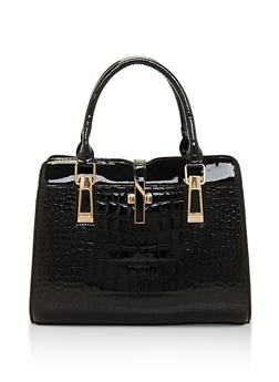 Embossed Faux Patent Leather Handbag - 3124073896433