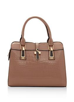 Embossed Faux Patent Leather Handbag - 3124073896433