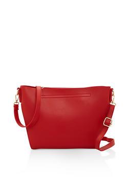 Faux Leather Crossbody Bag - 3124073896445